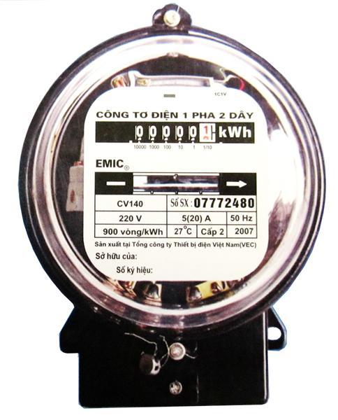 Picture of Công tơ điện 1 pha 220V Emic 20/80A Nắp thủy tinh