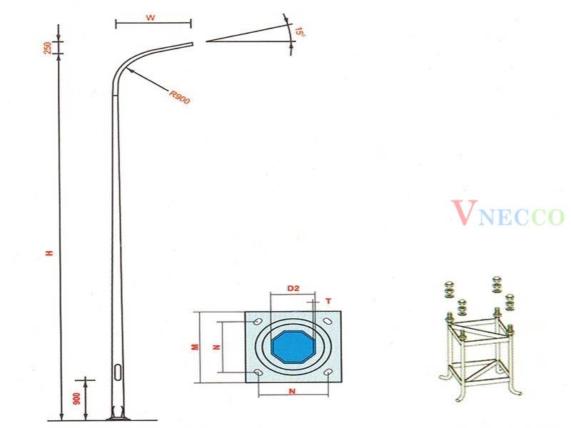 Picture of Cột đèn cao áp liền cần đơn - mã CCA01