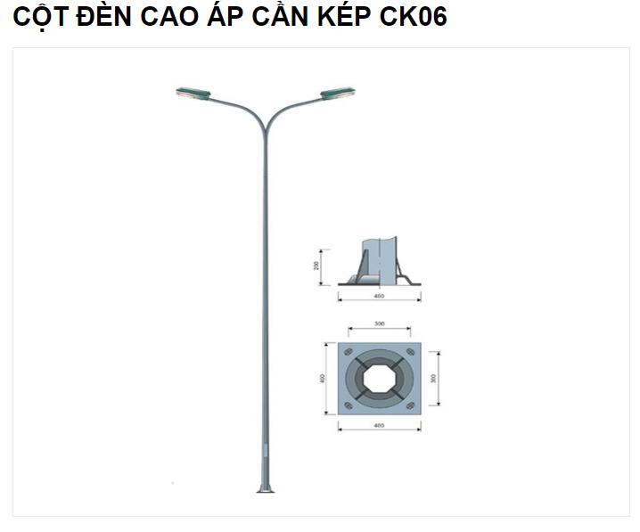 Picture of CỘT ĐÈN CAO ÁP CẦN KÉP CK06 - mã CCA09