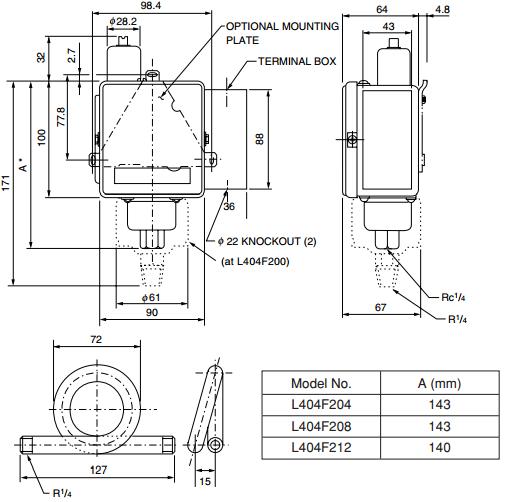 Mechanical Controllers Azbil L404F204